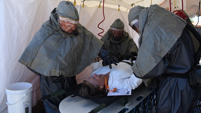 AZ Guard Airmen train to operate patient decontamination station