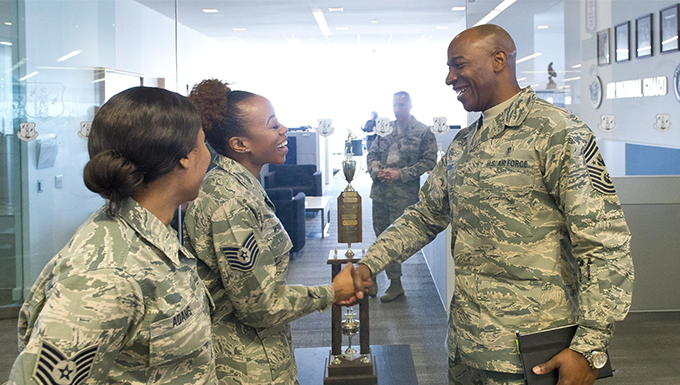 CMSAF Wright visits with ANGRC Airmen
